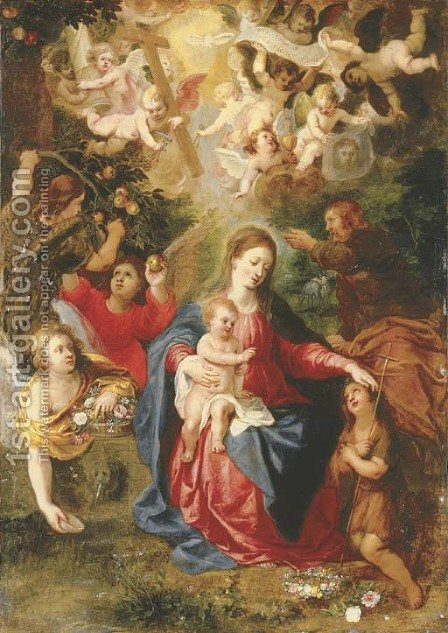 The Rest on the Flight into Egypt with the youthful Saint John the Baptist and angels with fruit and flowers, cherubim aloft holding the Instruments o by Hendrik van Balen, I - Reproduction Oil Painting