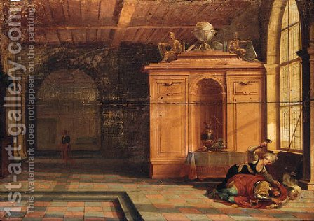 The interior of a palace with Jael slaying Sisera by Hendrick Van Steenwijk II - Reproduction Oil Painting