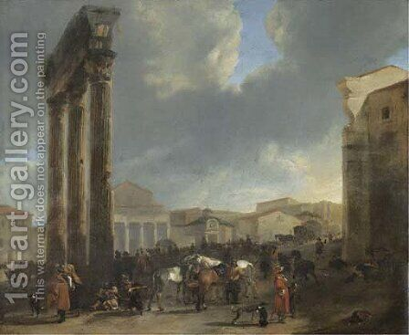 The Campo Vaccino, Rome by Hendrick Verschuring - Reproduction Oil Painting