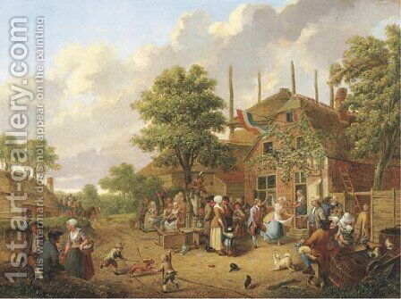 'Boeren Buijtenvreugt' a wedding dance in a village by Hendrick Willelm Schweickhardt - Reproduction Oil Painting