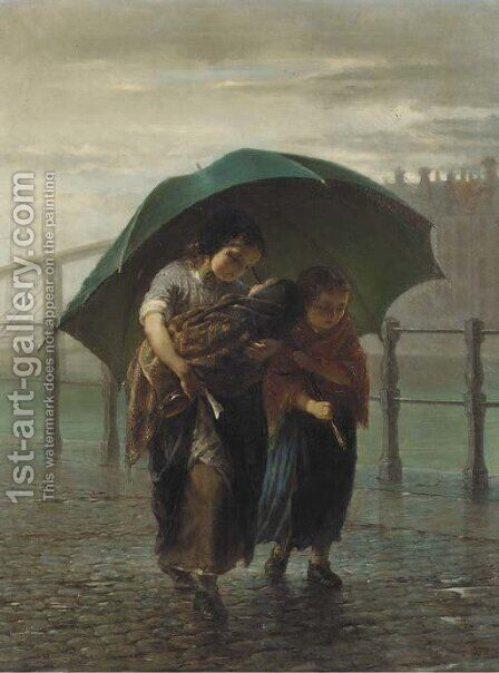 Under a green umbrella by Hendricus Johannes Burgers - Reproduction Oil Painting