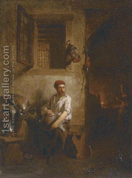 Polishing armour at the blacksmith's forge by Hendricus Johannes Scheeres - Reproduction Oil Painting