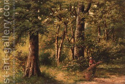 The woodgatherer by Hendrik Barend Koekkoek - Reproduction Oil Painting