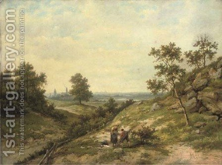 Woodgatherers in a hilly landscape by Hendrik Barend Koekkoek - Reproduction Oil Painting