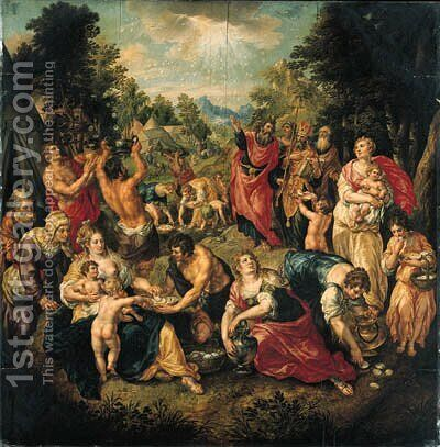 The Gathering of the Manna by the Israelites by Hendrick De Clerck - Reproduction Oil Painting