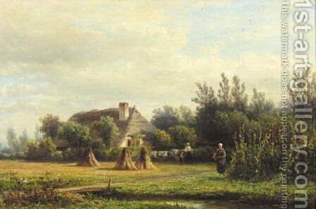 A summer's day at the farm by Hendrik-Dirk Kruseman van Elten - Reproduction Oil Painting