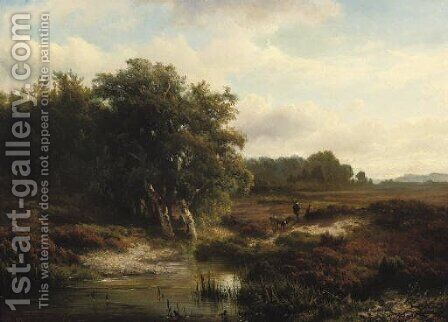 Walking on the heath by Hendrik-Dirk Kruseman van Elten - Reproduction Oil Painting