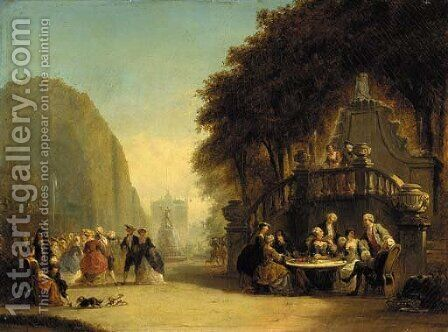 Elegant figures in a park by Hendrik Frans Schaefels - Reproduction Oil Painting