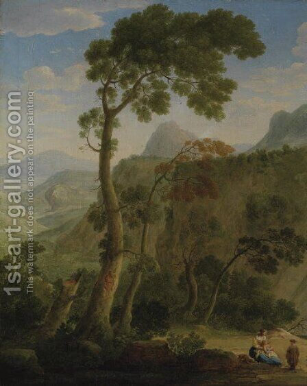 A mountainous landscape with a mother and her children resting by Hendrik Frans Van Lint - Reproduction Oil Painting