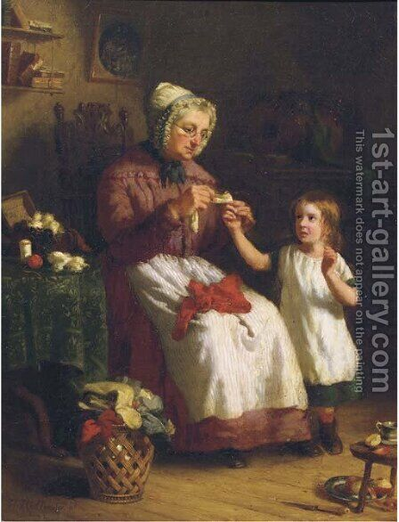 Nursing the scratch by Hendrik Hollander Cz - Reproduction Oil Painting