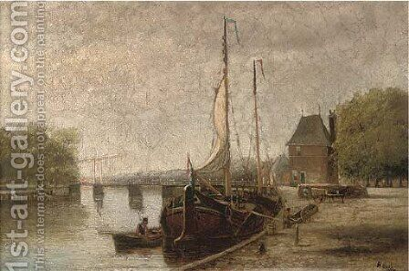 A Dutch canal with barges, near Haarlem by Hendrik Hulk - Reproduction Oil Painting