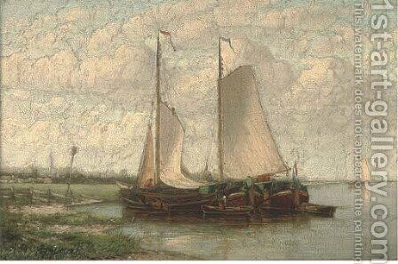 Barges moored on a Dutch waterway by Hendrik Hulk - Reproduction Oil Painting