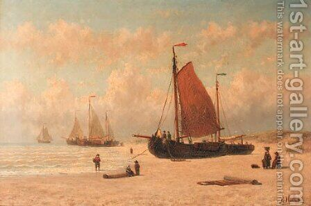 Bomschuiten on the beach of Zandvoort, Noord Holland by Hendrik Hulk - Reproduction Oil Painting