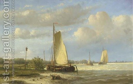 Sailing barges on a river; Vessels on a calm river by Hendrik Hulk - Reproduction Oil Painting