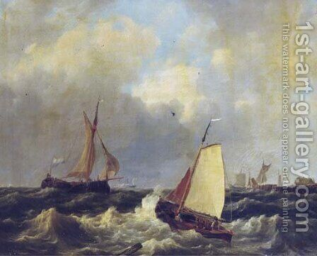 Sailing on choppy waters by a coast by Hendrik Jacob Elzer - Reproduction Oil Painting