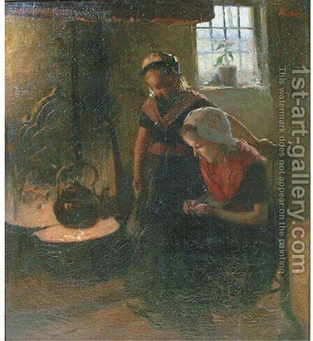 Sisters by the hearth by Hendrik Maarten Krabbe - Reproduction Oil Painting