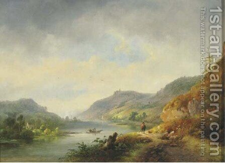 A river winding through hills, a town in the distance by Hendrik Pieter Koekkoek - Reproduction Oil Painting