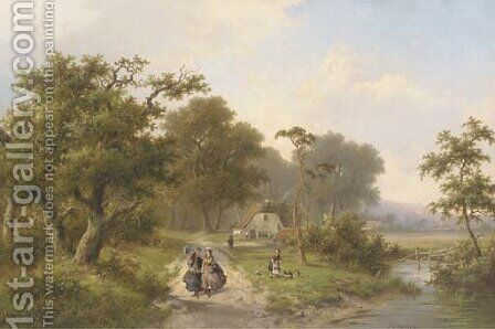 Elegant ladies strolling in the country by Hendrik Pieter Koekkoek - Reproduction Oil Painting