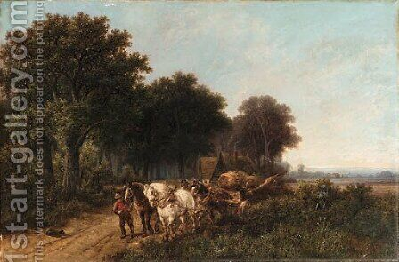 Pulling the wagon by Hendrik Pieter Koekkoek - Reproduction Oil Painting