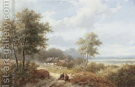 Wood gatherers by Hendrik Pieter Koekkoek - Reproduction Oil Painting