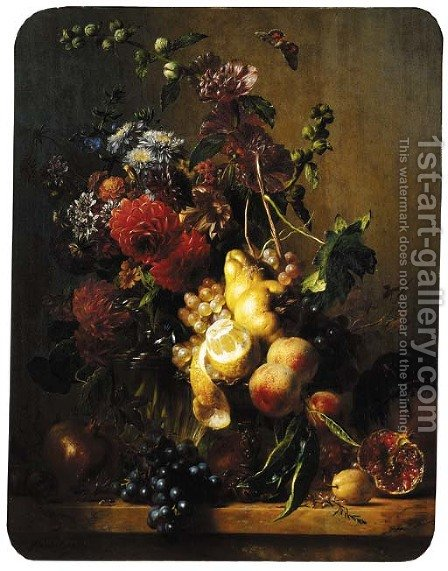 A still life with dahlias, hollyhocks and other flowers in a glass vase and fruit on a gilt tazza by Hendrik Reekers - Reproduction Oil Painting