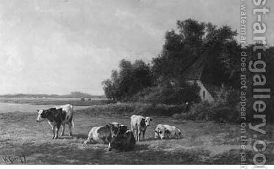 Cows grazing in a summer meadow by Hendrik Savrij - Reproduction Oil Painting