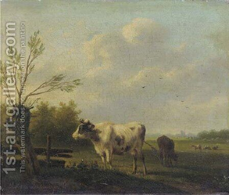 Cows in a summer meadow by Hendrikus van den Sande Bakhuyzen - Reproduction Oil Painting