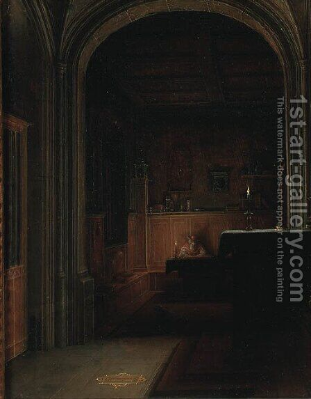 Saint Jerome writing by candlelight in a gothic chapel by Hendrick van, the Younger Steenwyck - Reproduction Oil Painting