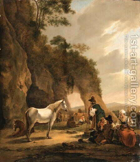 An Italianate Landscape with Travellers resting by a Grotto by Hendrick Verschuring - Reproduction Oil Painting