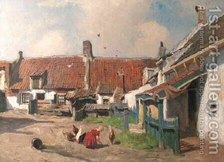 A child playing in a yard by Hendrik Willebrord Jansen - Reproduction Oil Painting