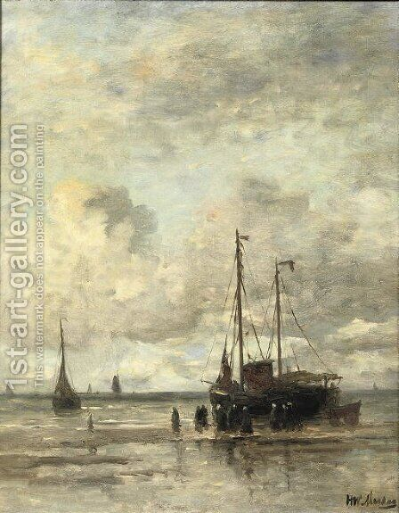 A 'Bomschuit' and fisherfolk in the surf by Hendrik Willem Mesdag - Reproduction Oil Painting