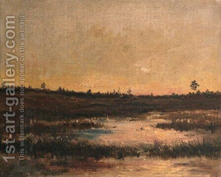 An evening view of a boggy landscape in Drente by Hendrik Willem Mesdag - Reproduction Oil Painting