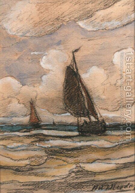 Bomschuiten at sea by Hendrik Willem Mesdag - Reproduction Oil Painting