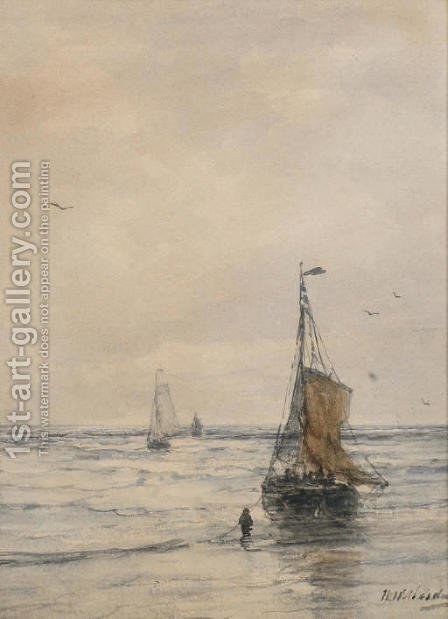 Bomschuiten in the surf 2 by Hendrik Willem Mesdag - Reproduction Oil Painting
