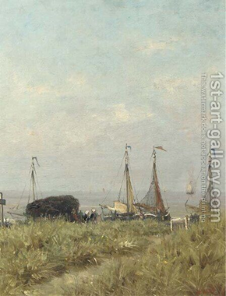 Overlooking the sea from the dunes by Hendrik Willem Mesdag - Reproduction Oil Painting