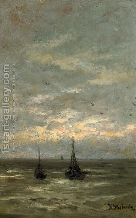 Sunset over the North Sea by Hendrik Willem Mesdag - Reproduction Oil Painting