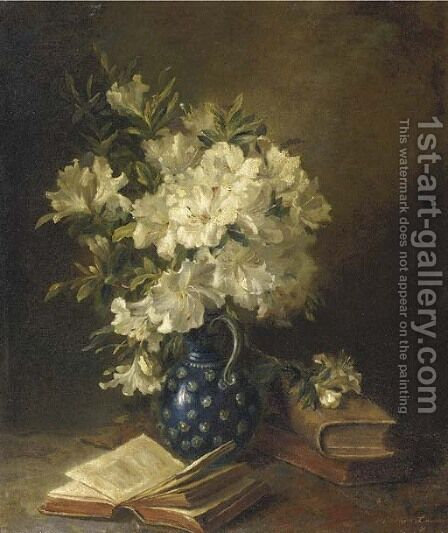 A still life with rhodondendrons in a jug and books by Hendrika Wilhelmina Van Der Kellen - Reproduction Oil Painting