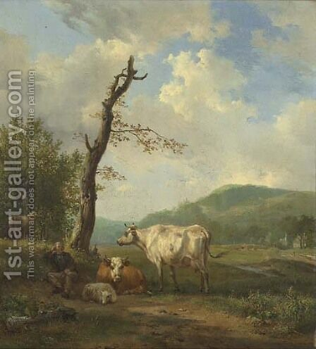 A hilly landscape with a shepherd and his flock resting by a tree by Hendrikus van den Sande Bakhuyzen - Reproduction Oil Painting