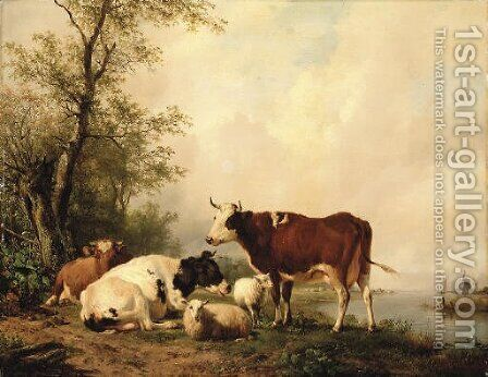 Cattle in a river landscape by Hendrikus van den Sande Bakhuyzen - Reproduction Oil Painting