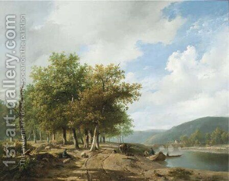 Daily activities along a river in a hilly landscape by Hendrikus van den Sande Bakhuyzen - Reproduction Oil Painting