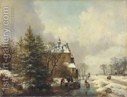Gathering timber on the ice by a country house by Hendrikus van den Sande Bakhuyzen - Reproduction Oil Painting
