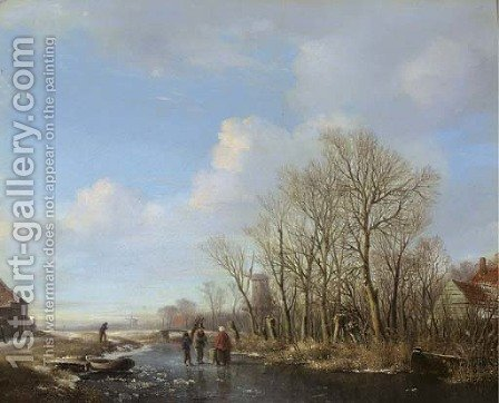 Woodgatherers on a frozen stream by Hendrikus van den Sande Bakhuyzen - Reproduction Oil Painting