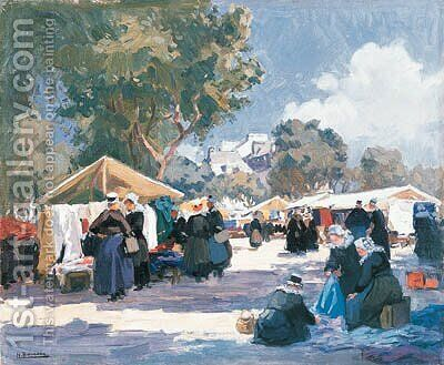 Market Day, Concarneau by Henri Alphonse Barnoin - Reproduction Oil Painting