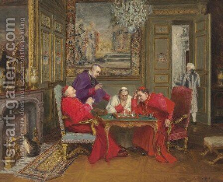 A Cardinal's Move by Henri Brispot - Reproduction Oil Painting