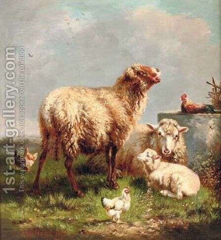 Sheep and chickens in a pasture by Henri De Beul - Reproduction Oil Painting
