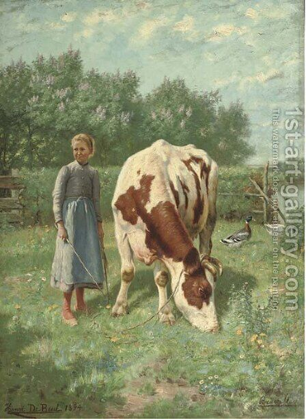 The little cowherdess by Henri De Beul - Reproduction Oil Painting
