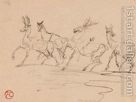 Cerfs et biches by Toulouse-Lautrec - Reproduction Oil Painting