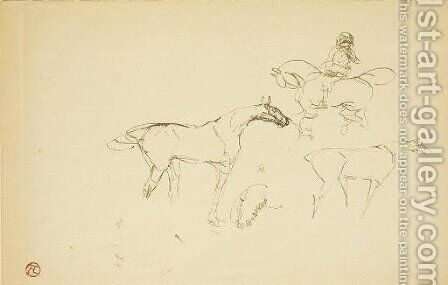 Chevaux by Toulouse-Lautrec - Reproduction Oil Painting