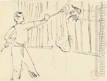 Dompteur nourrissant un lion by Toulouse-Lautrec - Reproduction Oil Painting
