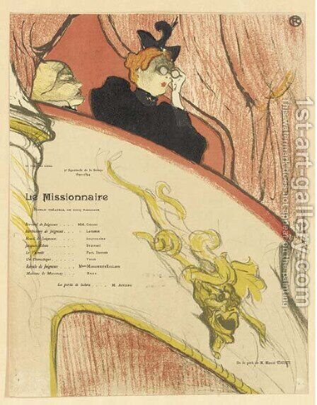 La Loge au Mascaron Dore by Toulouse-Lautrec - Reproduction Oil Painting